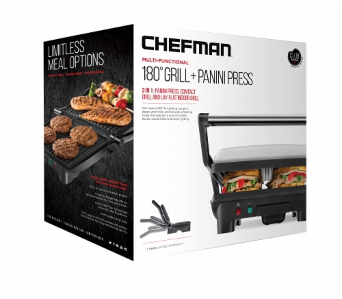 Chefman Electric Stainless Steel 180 Panini Press - Black Perspective: front
