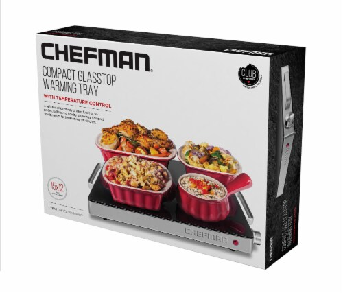 Chefman Stainless Steel Compact Glasstop Warming Tray Perspective: front