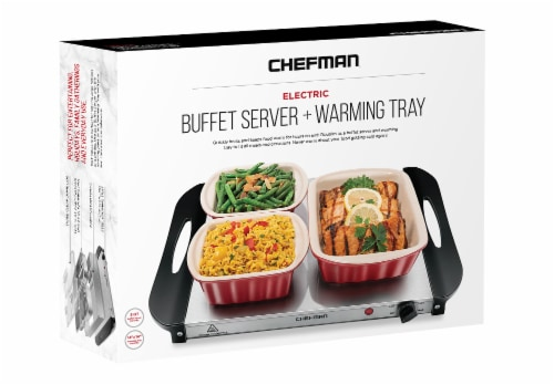 Chefman Stainless Steel Electric Buffet Server & Warming Tray Perspective: front
