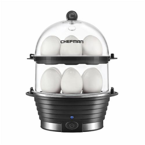 Chefman Electric Double Decker Egg Cooker Boiler - Black Perspective: front