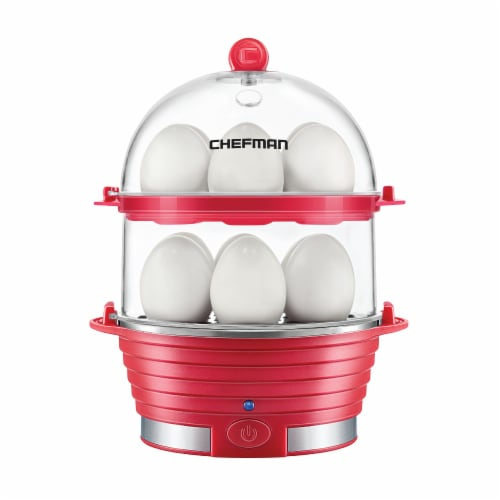 Chefman Electric Double Decker Egg Cooker - Red Perspective: front