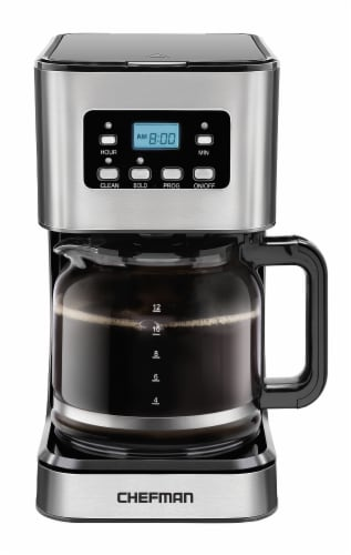 Chefman Square Stainless Steel Programmable Electric Coffee Maker - Silver Perspective: front