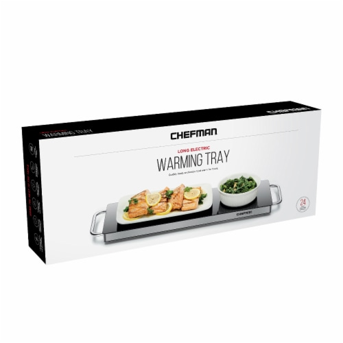 Chefman Long Stainless Steel Electric Warming Plate - Black Perspective: front