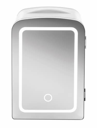 Chefman Portable LED Mirrored Mini Fridge - White Perspective: front