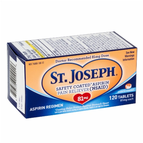 St Joseph 81mg Enteric Coated Aspirin Perspective: front