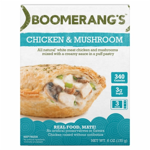 Boomerang's Chicken & Mushroom Pot Pie Frozen Meal Perspective: front