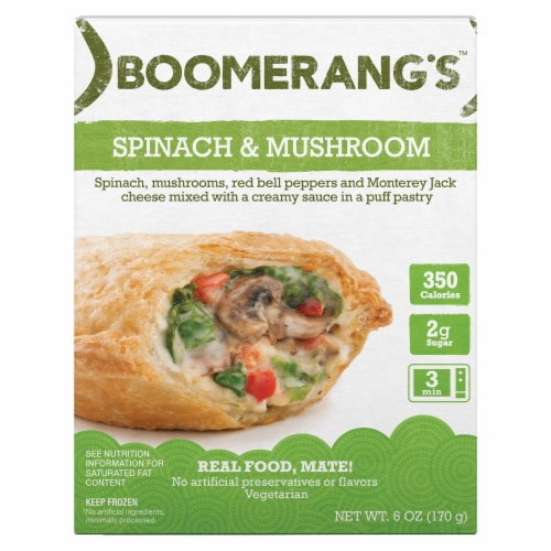 Boomerang's Spinach & Mushroom Pot Pie Frozen Meal Perspective: front