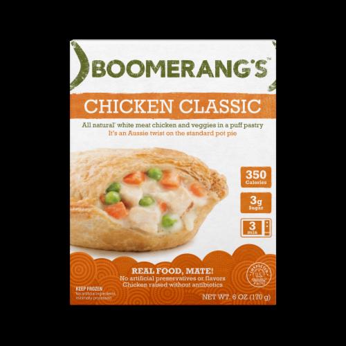 Boomerang's Chicken Classic Pot Pie Frozen Meal Perspective: front