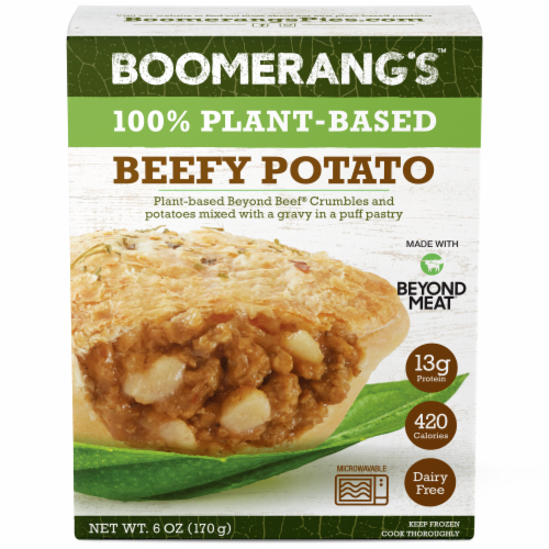 Boomerang's Plant-Based Beefy Grounds & Potato Pie Perspective: front