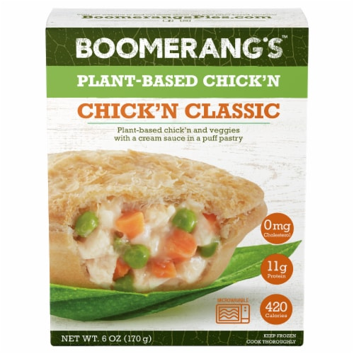 Boomerang's Plant-Based Chick'n Classic Pie Perspective: front
