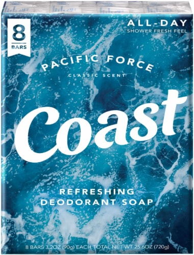 Coast Pacific Force Refreshing Deodorant Soap 8 Count Perspective: front
