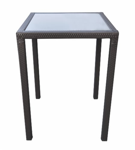 Tropez Outdoor Patio Wicker Bar Table with Black Glass Top Perspective: front