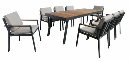 Nofi Outdoor Patio Dining Set in Charcoal Finish with Taupe Cushions (Table with 8 chairs) Perspective: front