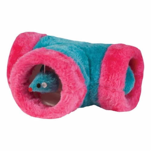 Chomper Assorted Interactive Tube Tunnel Plush Cat Toy Large 1 - Case Of: 1; Perspective: front