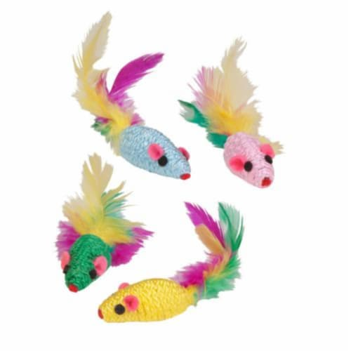 Kylie's Brights Feather Rattler Mice 4-Pk Perspective: front