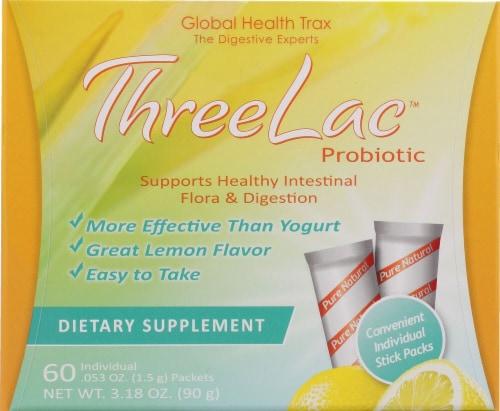 Global Health Trax  ThreeLac™ Probiotic   Lemon Perspective: front