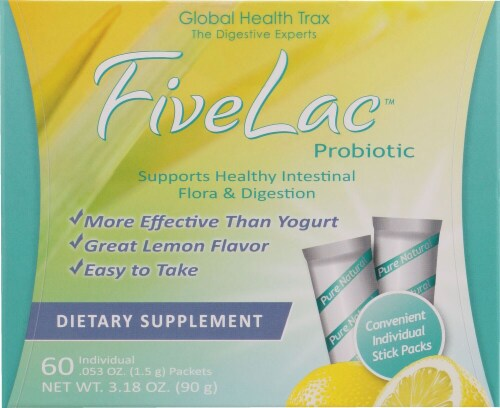 Global Health Trax  FiveLac™ Probiotic   Lemon Perspective: front