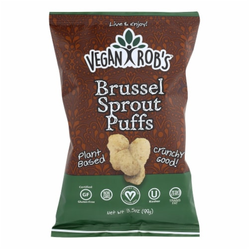 Vegan Rob's Puffs - Brussel Sprout - Case of 12 - 3.5 oz Perspective: front