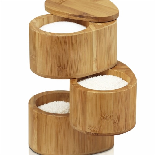 Furinno FK8942 Dapur Bamboo 3 Tier Spice Can Perspective: front