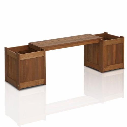 Furinno Tioman Teak Hardwood Planter Box FG16011 Perspective: front
