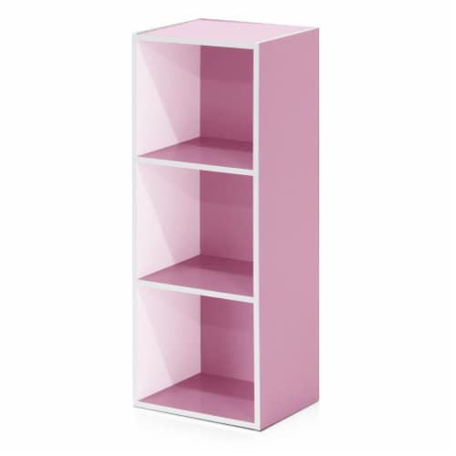 Furinno 11003WH-PI 3-Tier Open Shelf Bookcase, White & Pink Perspective: front