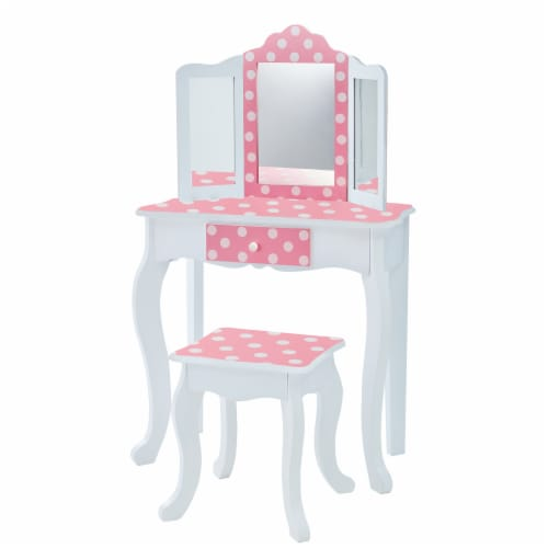 Fantasy Fields Kids Vanity Set Wooden Table with Mirror & Stool Pink TD-11670F Perspective: front
