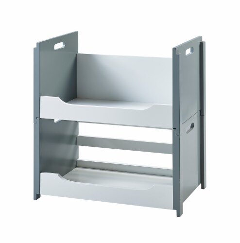 Versanora Wooden Stacking Storage Shelving Unit A White/Grey Cubo VNF-00006 Perspective: front