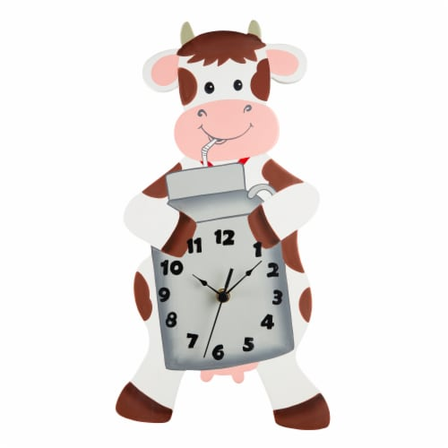 Fantasy Fields Childrens Happy Farm Wooden Cow Wall Clock Kids Bedroom TD-12657A Perspective: front