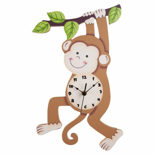 Kids Monkey Wall Clock Animal Themed Sunny Safari by Fantasy Fields TD-0081AR Perspective: front