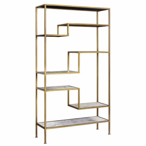 Versanora Wooden Bookcase Book Shelf Storage Unit Marble Marmo VNF-00035 Perspective: front