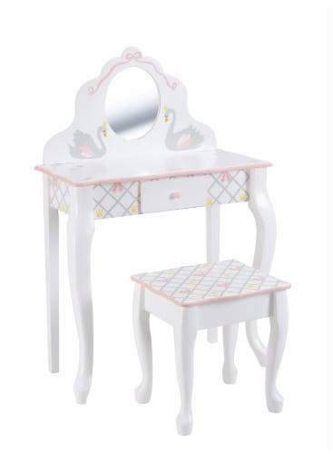 Fantasy Fields Swan Lake Girls Wooden Vanity Set & Stool Kids Dress Up TD-12890A Perspective: front