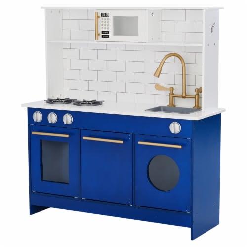 Blue Kids Toy Kitchen Wooden Cooker Children Imitation Play TeamsonKidsTD12681B Perspective: front