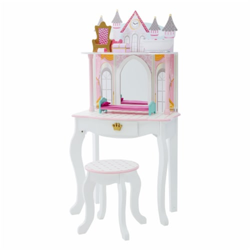 Fantasy Fields Kids Vanity Set Castle Table With Mirror & Stool White TD-12951A Perspective: front