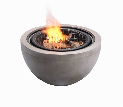 Peaktop Firepit Wood Burning Fire Pit Concrete Style BBQ Grill Poker HR30180AA Perspective: front