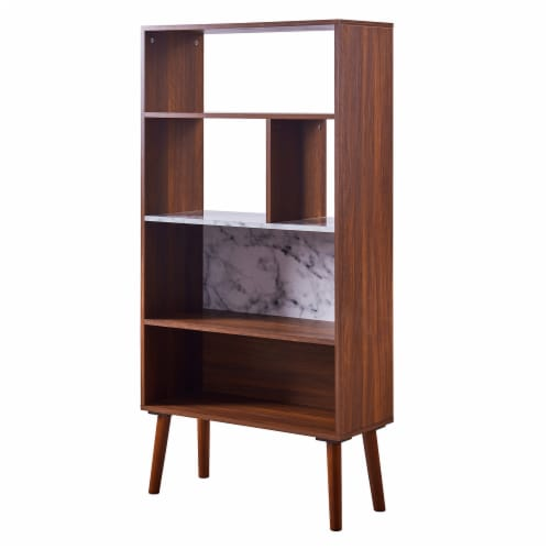 Versanora Wooden Bookcase Bookshelf 4 Tier Faux Marble Walnut Kingston VNF-00078 Perspective: front