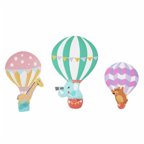 Fantasy Fields Kids Wooden Wall Hooks Set Of 3 Décor Hot Air Balloons TD-13125A Perspective: front