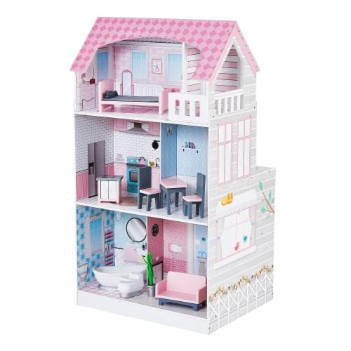 Teamson Kids 'Wonderland' Children's 2 in 1 Doll House & Play Kitchen TD-12515P Perspective: front