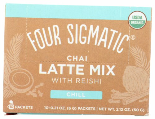 Four Sigmatic's Mushroom Chai Latte with Turkey Tail & Reishi Packets Perspective: front