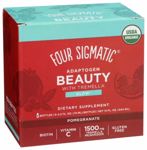 Four Sigmatic Adaptogen Beauty Pomegranate Dietary Supplement Perspective: front