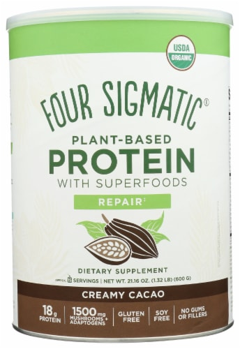 Four Sigmatic Repair Creamy Cacao Plant-Based Protein with Superfoods Perspective: front