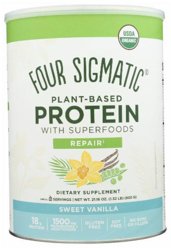 Four Sigmatic Repair Sweet Vanilla Plant-Based Protein with Superfoods Perspective: front