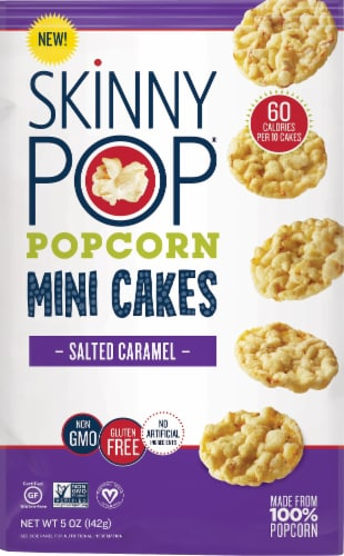 SkinnyPop Salted Caramel Popcorn Mini Cakes Perspective: front