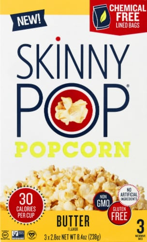 SkinnyPop Butter Flavor Microwavable Popcorn Bags 3 Count Perspective: front