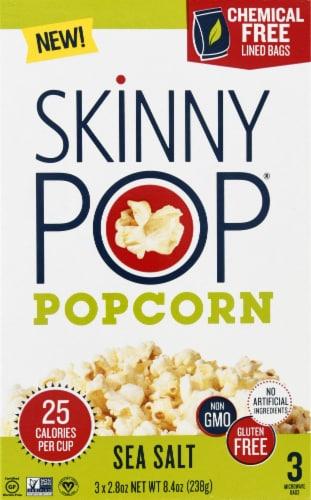SkinnyPop Sea Salt Popcorn 3 Count Perspective: front