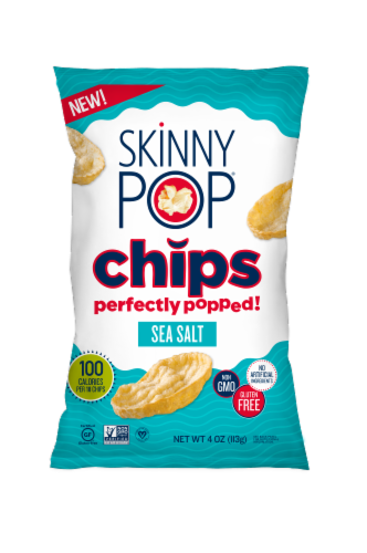 SkinnyPop Sea Salt Popped Chips Perspective: front
