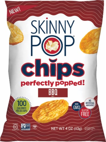 SkinnyPop BBQ Popped Chips Perspective: front