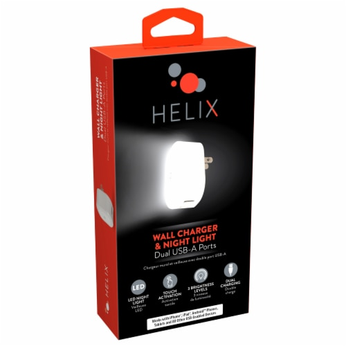 Helix Dual USB-A Ports LED Wall Charger & Night Light Perspective: front