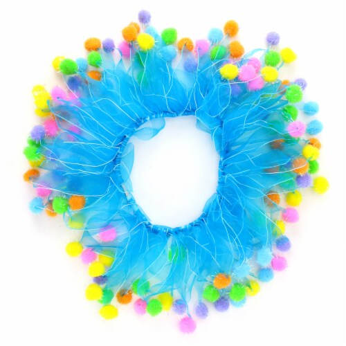 Midlee Blue Birthday Pom Pom Dog Collar (Medium) Perspective: front