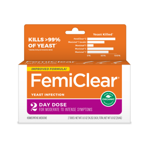 FemiClear Organic 2-Day Dose Homeopathic Vaginal Yeast Infection Treatment Perspective: front