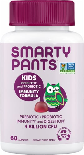 SmartyPants Kids Probiotic and Prebiotic Immunity Formula Grape Gummies Perspective: front